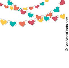 Multicolored hearts buntings garlands isolated on white...