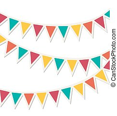 Set of multicolored flat buntings garlands isolated on white...