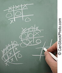 Tic Tac Toe on Chalk Board