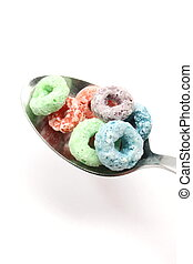 Fruity rings cereal on a Spoon - Fruit rings cereal on a...
