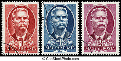 Stamps printed in Hungary show Maxim Gorky - HUNGARY - CIRCA...