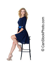 Girl sitting, bar stool, blonde, studio, dr