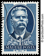 Stamp printed in Hungary shows Maxim Gorky - HUNGARY - CIRCA...