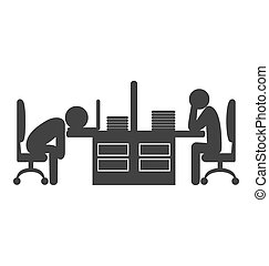 Flat office icon with fizzle out workers isolated on white...