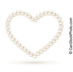 Pearl heart like frame isolated on white background