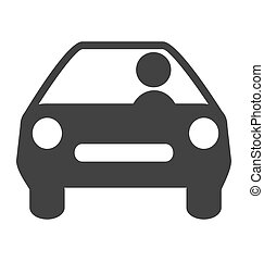 Flat driving icon isolated on white