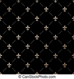 Seamless vector gold pattern with Fleur-de-lis on a black...