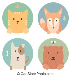 Animal set. Portrait in flat graphics. Cat, fox, dog and bear
