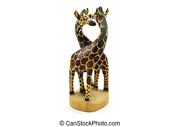 Wooden soul mate giraffe statue isolated on white background