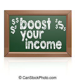 Boost Your Income on a chalkboard image with hi-res rendered...