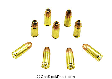 group of 9mm bullets isolated on a white background