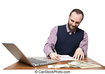 businessman in front of his desk and laptop - Smiling...