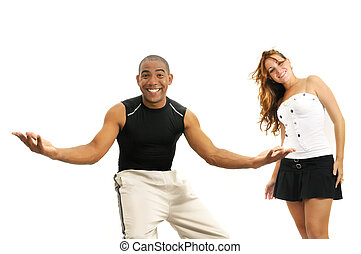 Multiracial couple with open arms - Portrait of young...