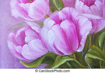 Vintage pink tulips Oil painting