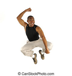African male jumping - Portrait of young cheerful african...