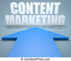 Content Marketing - 3d render concept of blue arrow pointing...