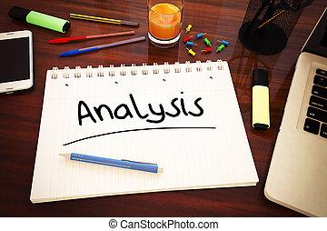 Analysis - handwritten text in a notebook on a desk - 3d...