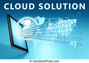 Cloud Solution illustration with tablet computer on blue...