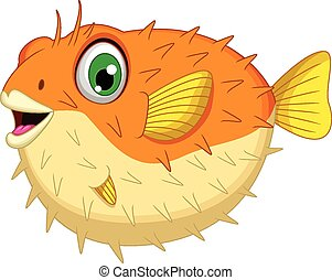 cute Blowfish or diodon holocanthus - vector illustration of...