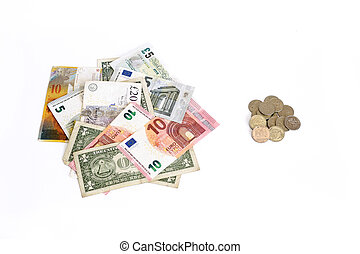 Euro Pound Dollar Swiss Franc against Russian Rouble coins on white background. Money from different countries