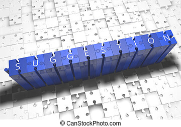 Suggestion - puzzle 3d render illustration with block...