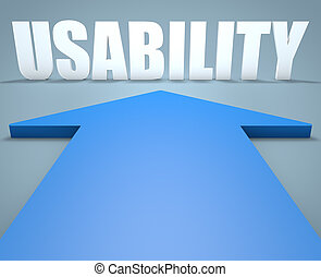 Usability - 3d render concept of blue arrow pointing to text...