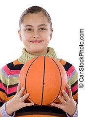 Adorable girl with basketball