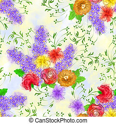 seamless pattern with a bouquet of flowers on a light...