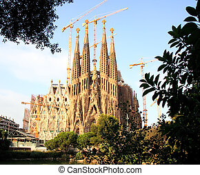 The Sagrada Familia Church in Barcelona Spain