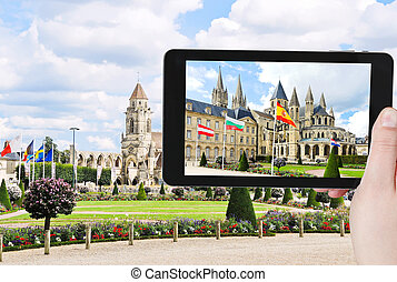 tourist photographs of Church in Caen town, France - travel...