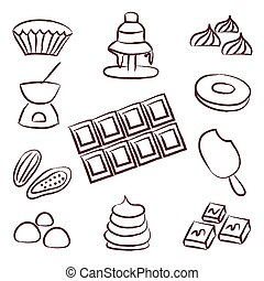 sweet chocolate doodle sketch icons set eps10