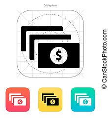 Bundle with dollar sign icon.