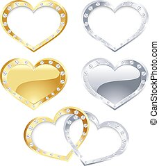 Set of gold and silver heart - The vector illustration...