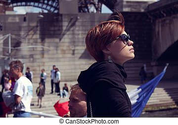 Beautiful young woman in Paris, France.