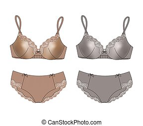 Sexy set of lingerie bra and panties isolated Vector...