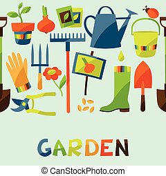 Seamless pattern with garden design elements and icons.