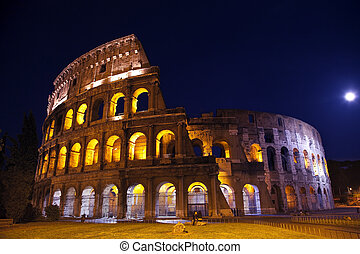 Colosseum Overview Moon Night Rome Italy - Colosseum...