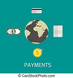 Payments - flat design payments concept abstract vector...
