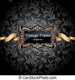 Vintage gold frame on black damask background. Vector...