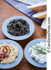 Bowls with healthy sandwich pastes - Close-up of bowls with...
