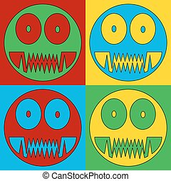 Pop art monster symbol icons Vector illustration