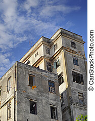 Shabby building in Old Havana - View of messy apartament...