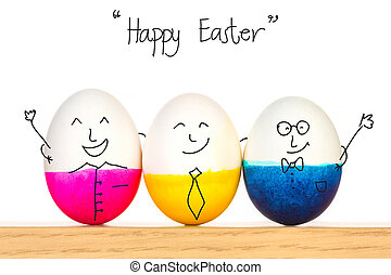 Happy Easter eggs on wooden table