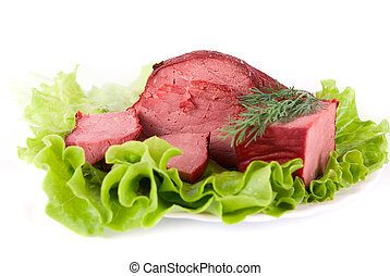 beef meat - Healthy beef meat on lettuce background