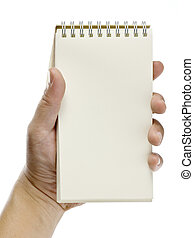 hand holding notebook with space for write, note, memo,...