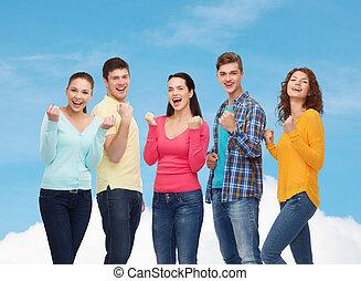 grupo, de, sonriente, Adolescentes, actuación,...