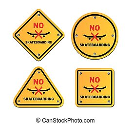 no skateboarding roadsigns - suitable for warning signs