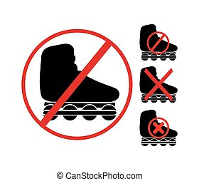 no rollerblading symbol - suitable for warning signs