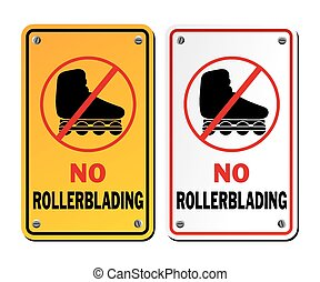 no rollerblading signs - suitable for warning signs