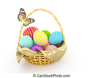 Basket with colorful Easter eggs